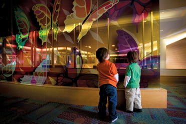 UPMC Children's Hospital of Pittsburgh interior butterfly wall