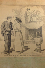 """A newspaper cartoon from May 27, 1911, cut out and pasted in a scrapbook that documents the beginnings of Children's Hospital of Pittsburgh's """"Tag Day."""""""