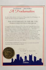 A proclamation by then mayor of Pittsburgh Tom Murphy in recognition of the 25th anniversary of Mr. Yuk in 1996.