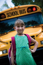 Back-to-School Program for Cancer Patients bus girl