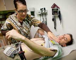 Justin getting an EKG, or electrocardiogram