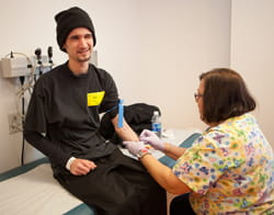 Edward getting therapeutic phlebotomy