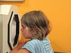child taking part in electroretinogram