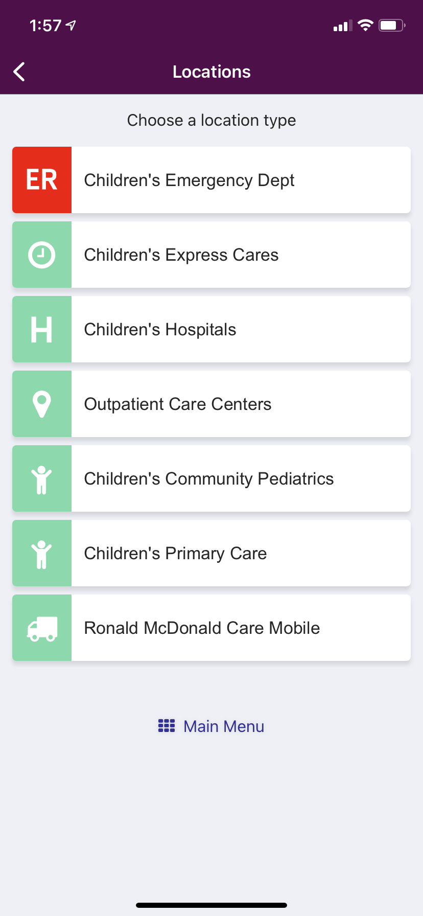 ChildrensPGH App Locations