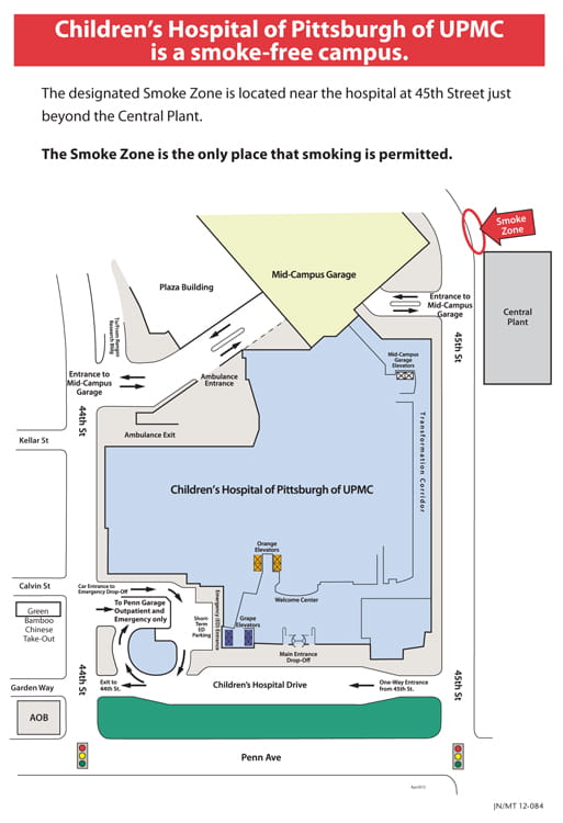 View the designated smoking zone at Children's Hospital of Pittsburgh of UPMC