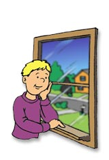 Injury Prevention Window Safety Cartoon